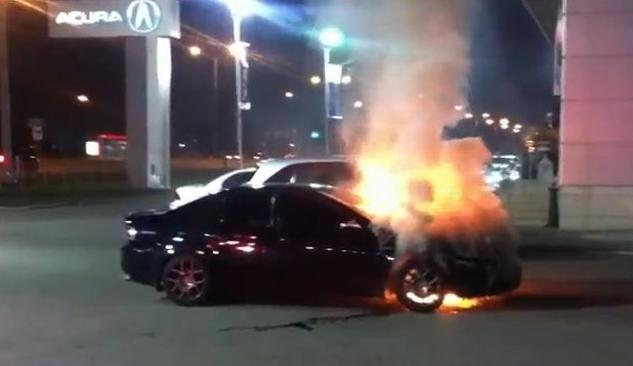 VIDEO: Acura TL bursts into flames outside Brampton dealership