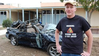 Teen drives Mustang off cliff and lives to talk about it