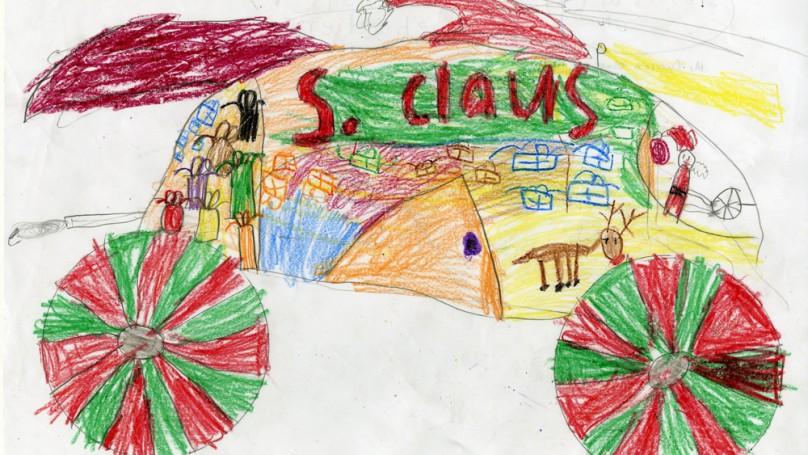 When it comes to drawing Santa's car ... the kids are all right