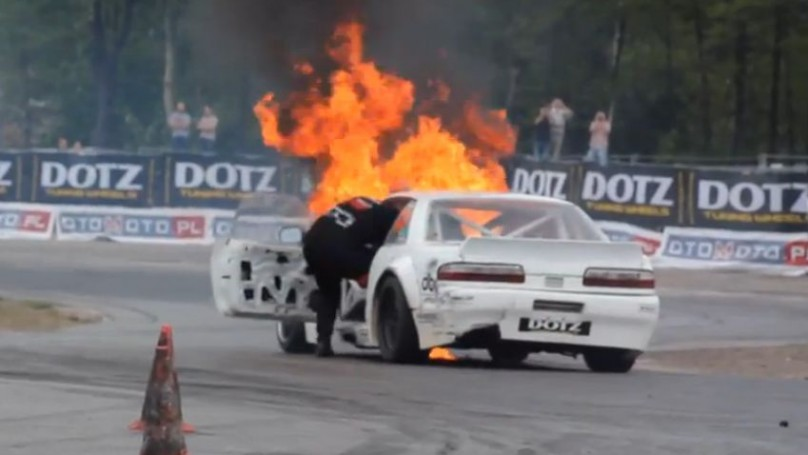 That's hot! Racer drifts so hard <br>his car spontaneously combusts