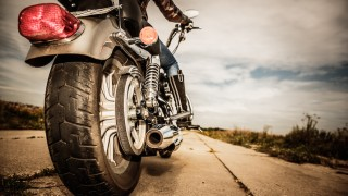 Motorcycle back tire close up