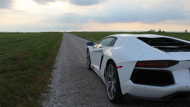 Lamborghini on gravel road