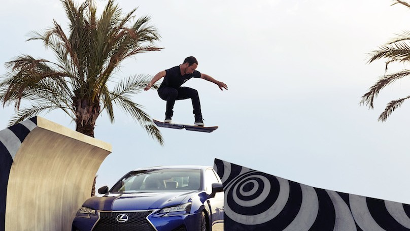 lexus hover board jumping a ramp