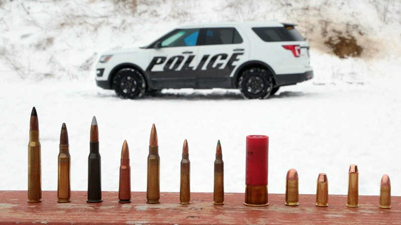 Armour piercing proof cop car