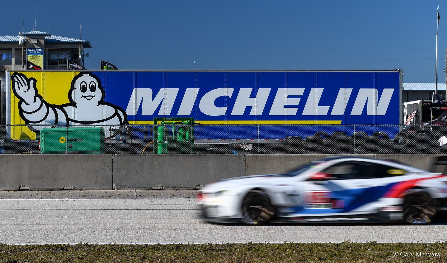 TrackWorthy - Weathertech Race Ulmann Straight Michelin sign No. 25 BMW
