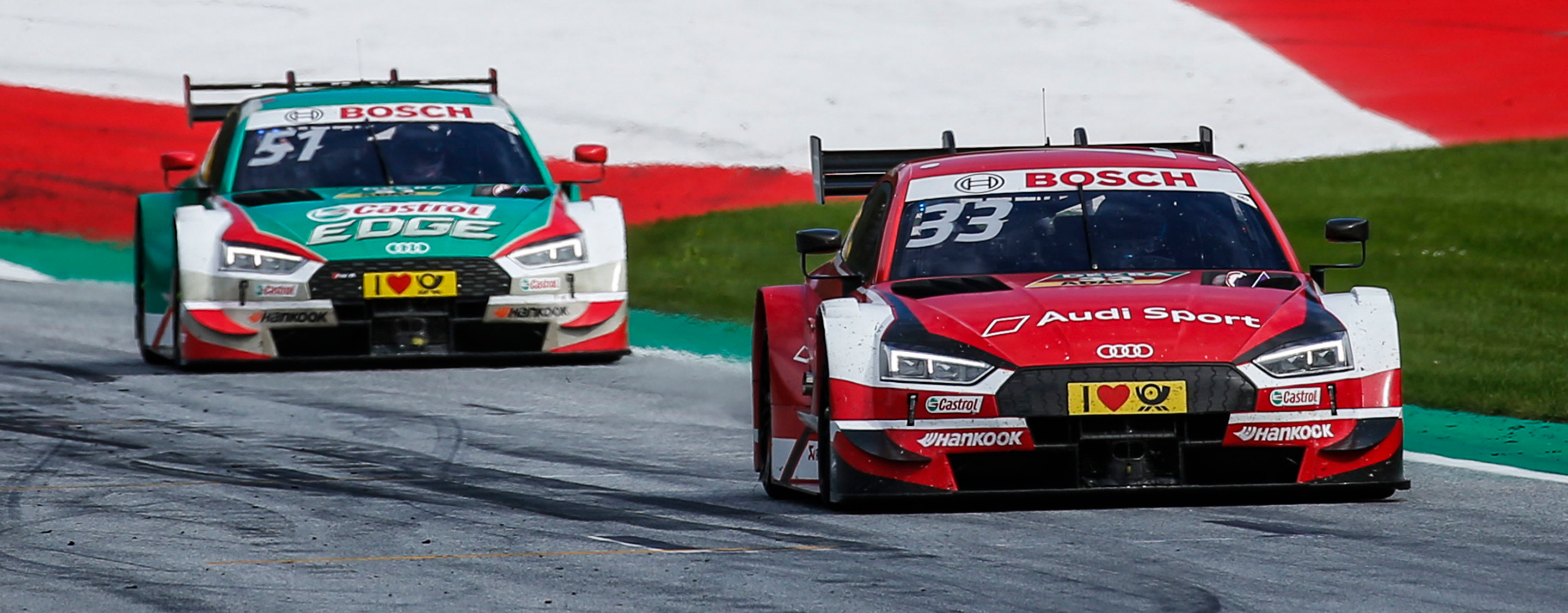 TrackWorthy - No. 33 Rene Rast Audi RS 5 DTM and No. 51 Audi RS 5 DTM Nico Muller