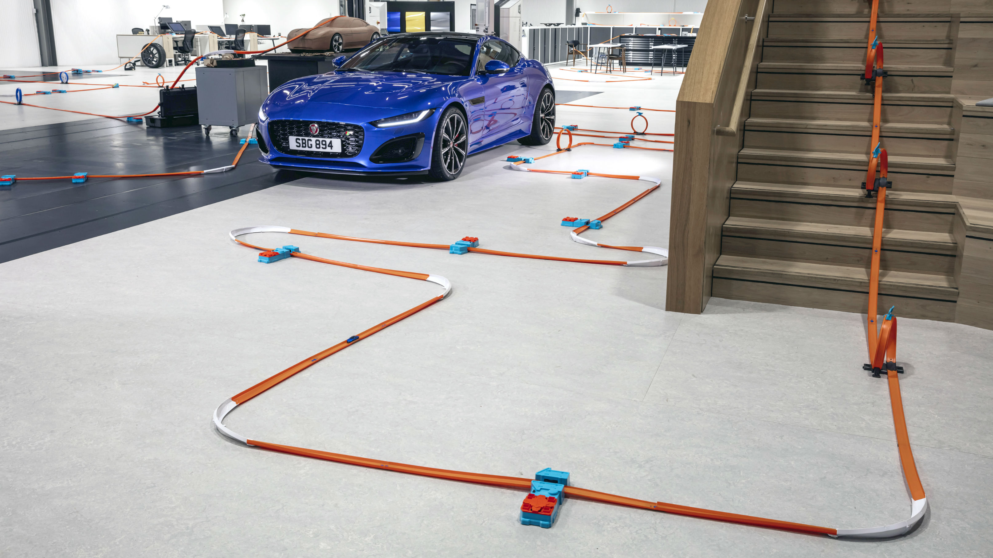 It's a track that shows off the new car, but also has more than a quarter of a kilometre of the signature orange Hot Wheels track.