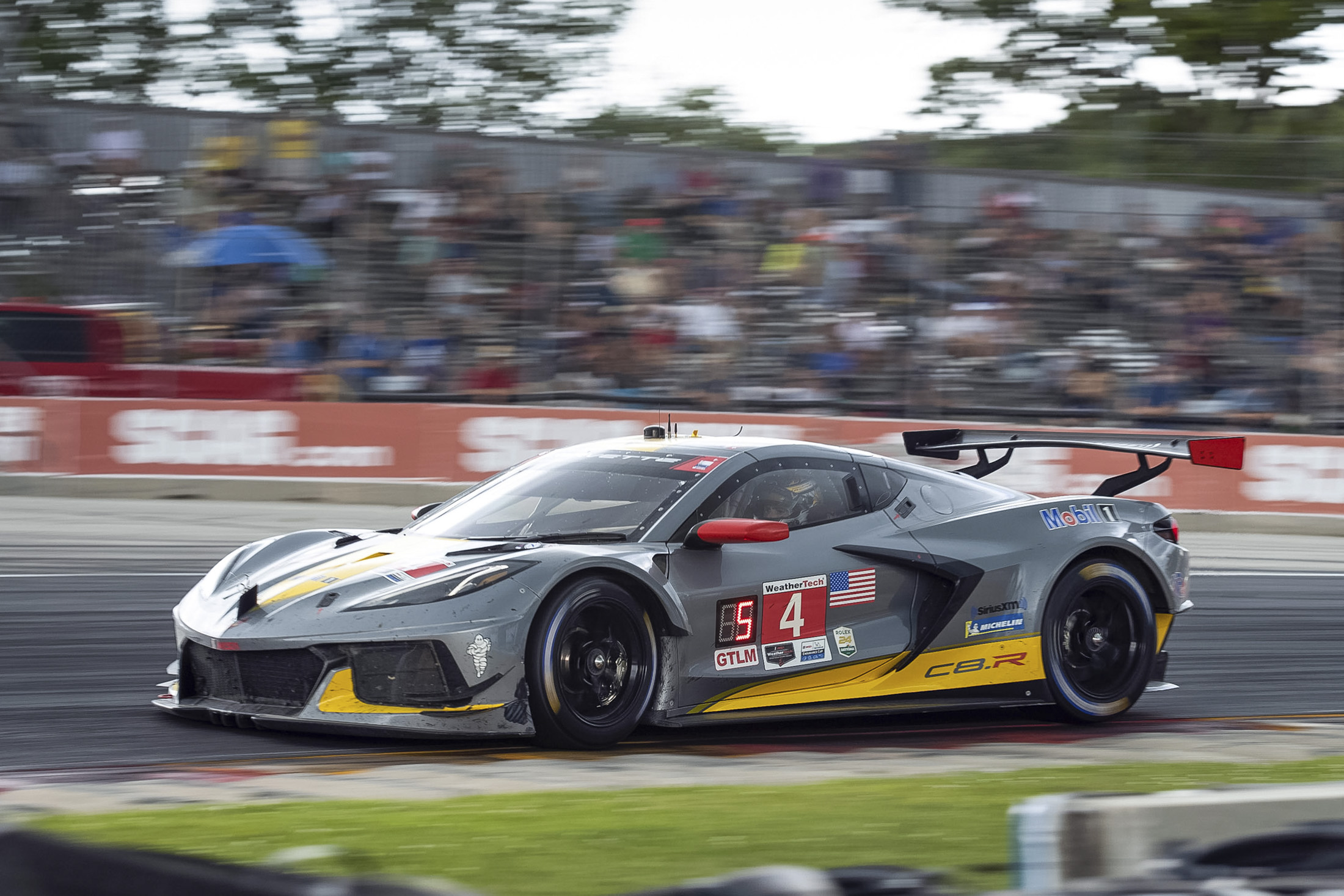 The #4 Mobil 1/SiriusXM Chevrolet Corvette C8.R driven by Oliver Gavin and Tommy Milner race to a second place finish Sunday, August 2, 2020 during the IMSA WeatherTech SportsCar Championship race at Road America in Elkhart, Wisconsin. This is the second podium in a row for Gavin and Milner who won at Sebring during this COVID-19 pandemic impacted IMSA race season. (Photo by Richard Prince for Chevy Racing)