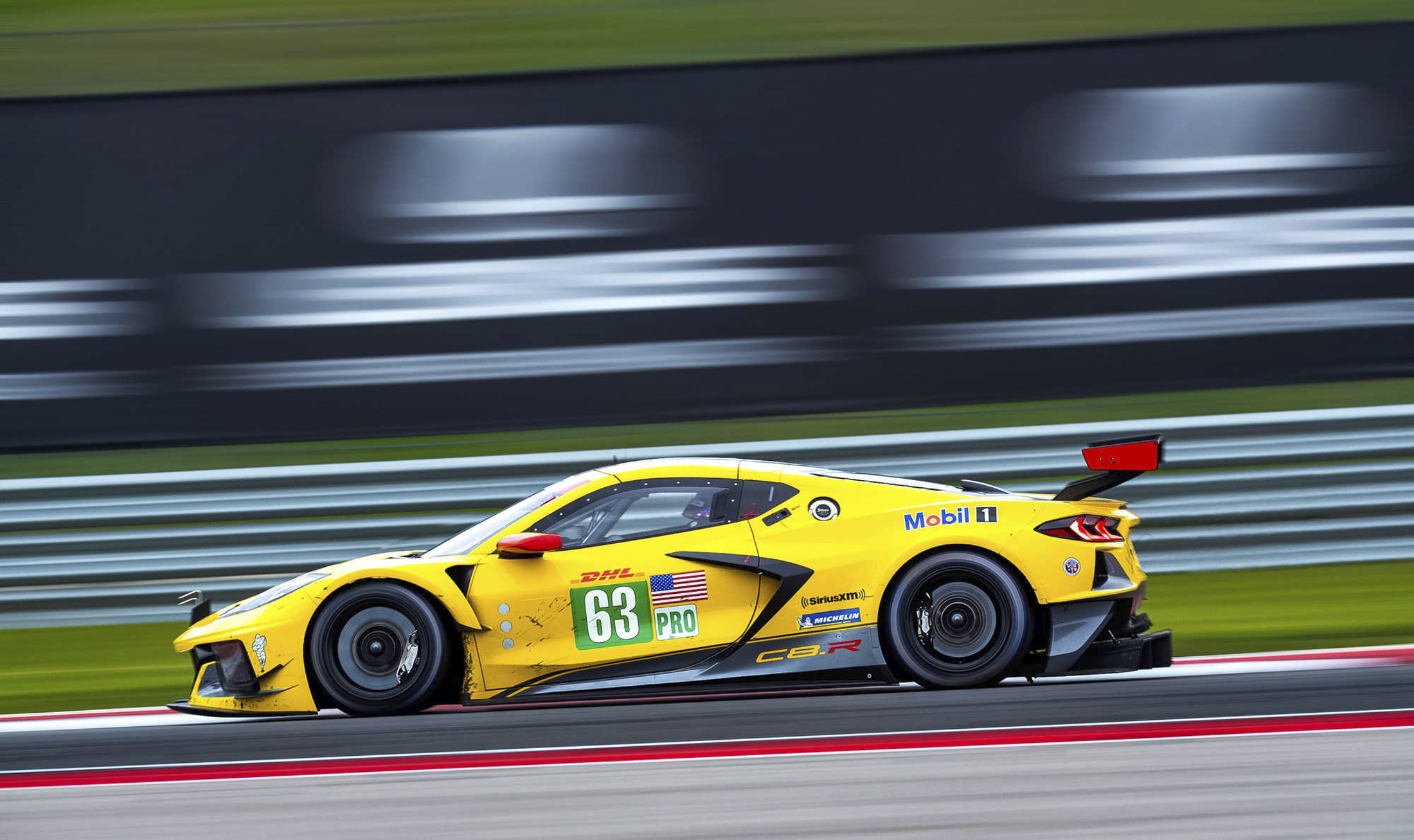 Jan Magnussen and Mike Rockenfeller, drivers of the #63 Mobil 1/SiriusXM Corvette C8.R, race to a sixth-place finish in the GTE Pro class Sunday, February 23, 2020 during the FIA World Endurance Championship's Six Hours of COTA at Circuit of The Americas in Austin, Texas. (Photo by Richard Prince for Corvette Racing)